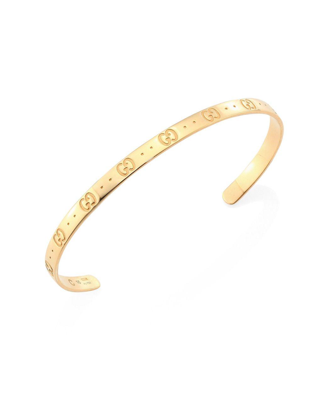 f64e4fa28 Gucci Icon 18k Yellow Gold Bangle Bracelet in Metallic - Lyst