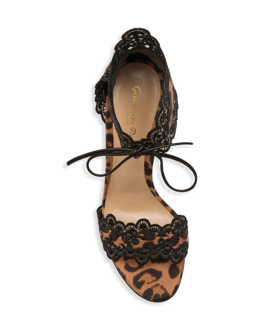 5d7b7fd0b555 Gianvito Rossi 105mm Leopard Print Satin Sandals in Black - Save 60% - Lyst