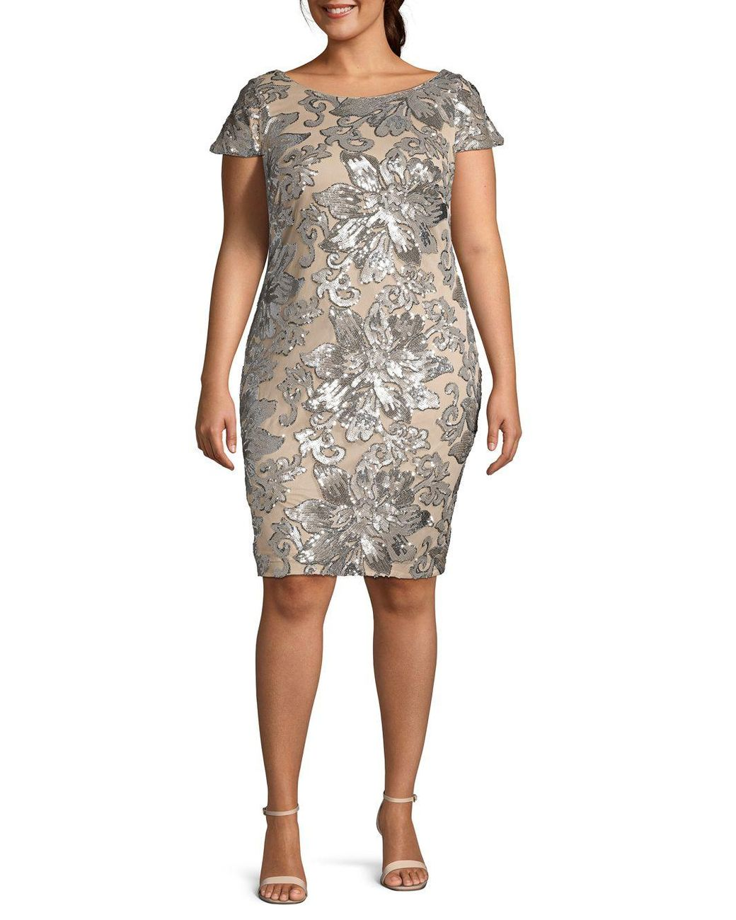 Calvin Klein Plus Cowl Back Sequin Sheath Dress Lyst
