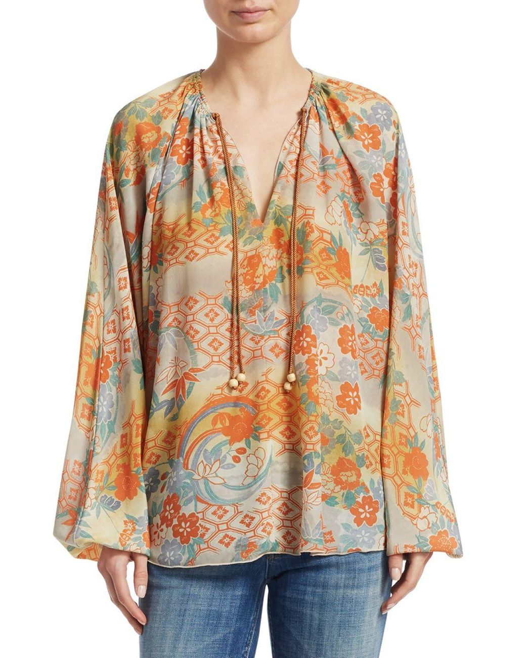 9cee7a20481551 Long-Touch to Zoom. Long-Touch to Zoom. 1; 2; 3; 4. Elizabeth and James - Multicolor  Chance Printed Silk Blouse ...