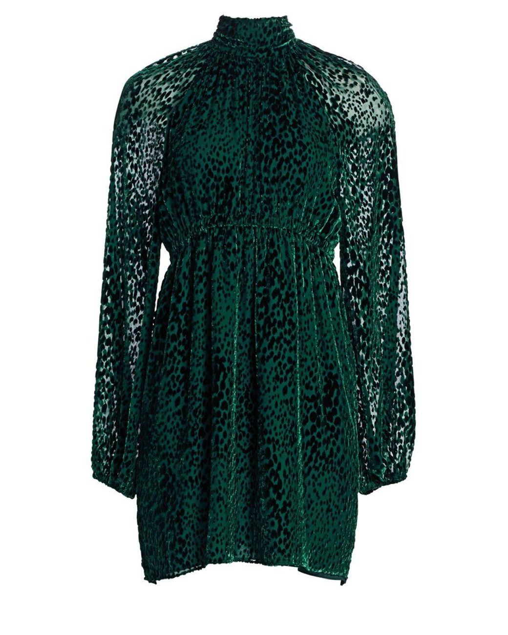e39749644d A.L.C. Nadia Velvet Burnout Mockneck Dress in Green - Save 70% - Lyst