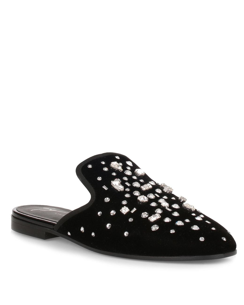 abdca9edc Giuseppe Zanotti. Women's Black The Dazzling Elsa Velvet Crystal Slipper Us