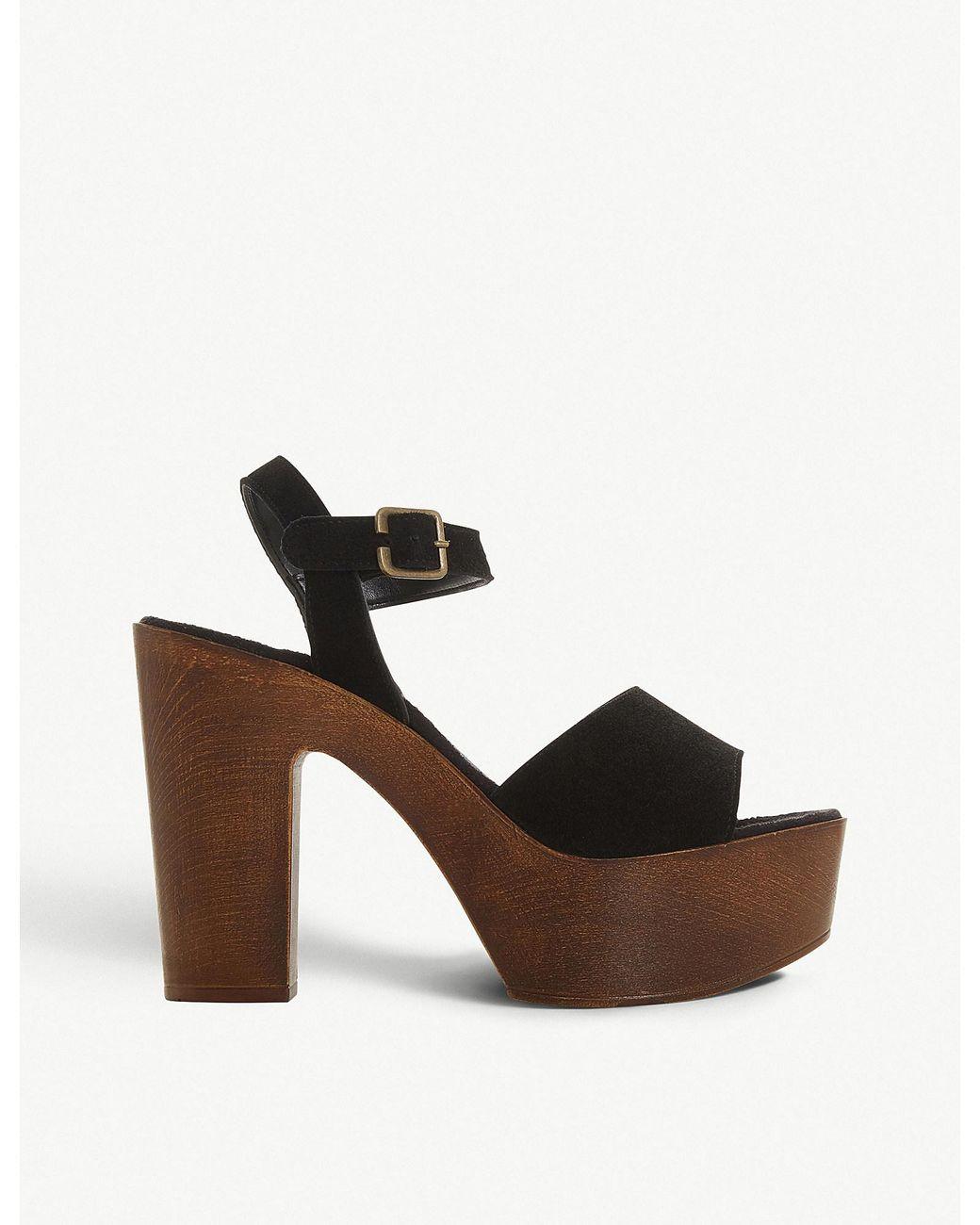 4e70f0606ff Steve Madden Lulla Block Heel Suede Sandals in Black - Lyst