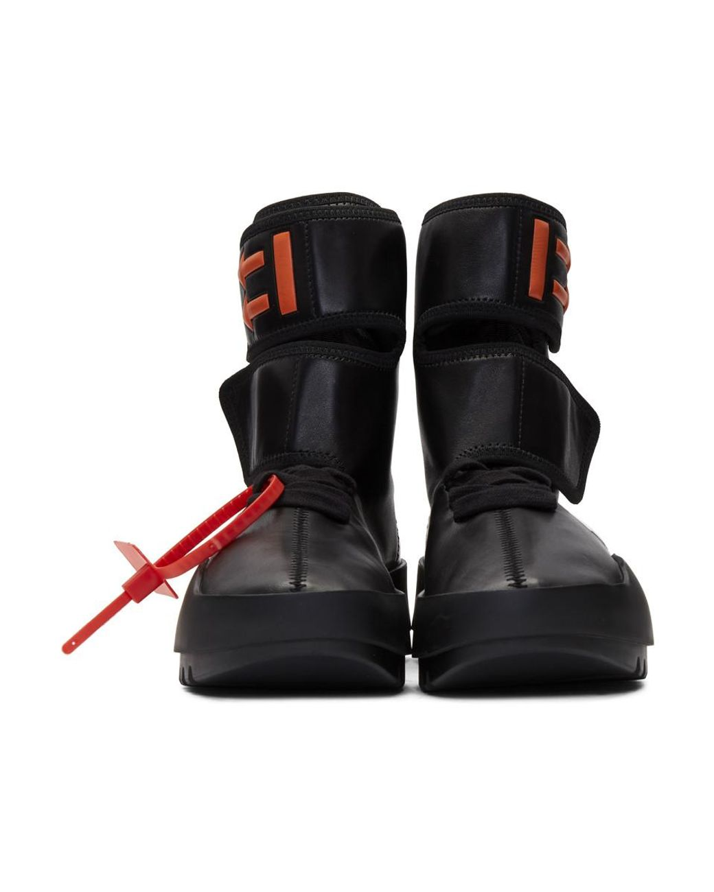 ed0989ef22d Off-White c/o Virgil Abloh - Black Leather Moto Wrap High-top Sneakers -  Lyst