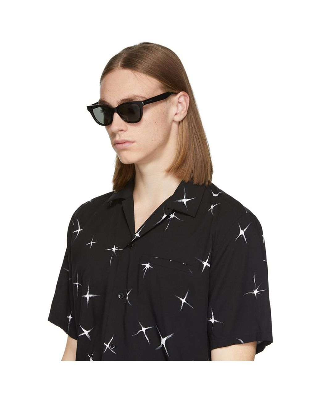 7473d22a28e8 Saint Laurent Black Small Sl 51 Sunglasses in Black for Men - Lyst