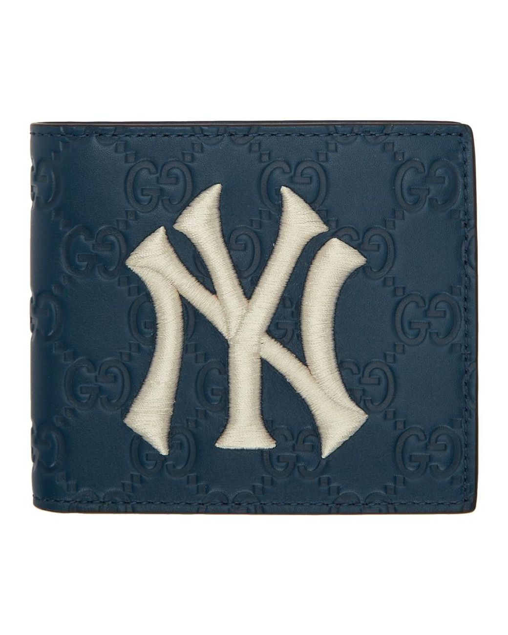 2d70bf109940 Gucci Navy Ny Yankees Edition GG Wallet in Blue for Men - Save 9% - Lyst