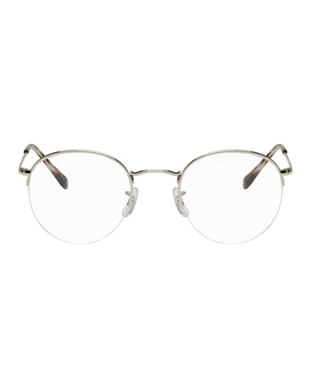 4b0abd2c89b Lyst - Ray-Ban Silver Round Gaze Glasses in Metallic for Men