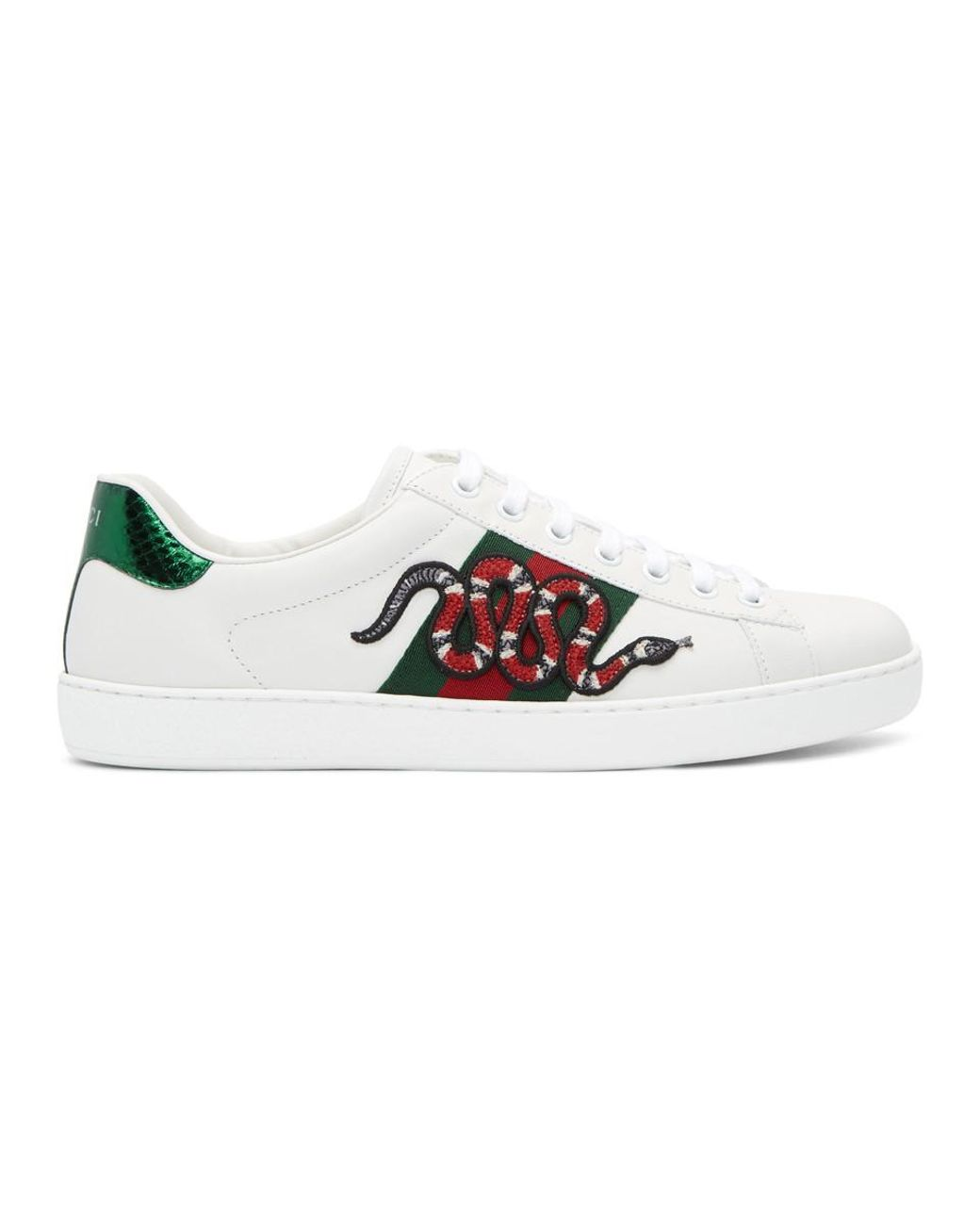 b82370604a370 Lyst - Gucci White Snake Ace Sneakers in White for Men