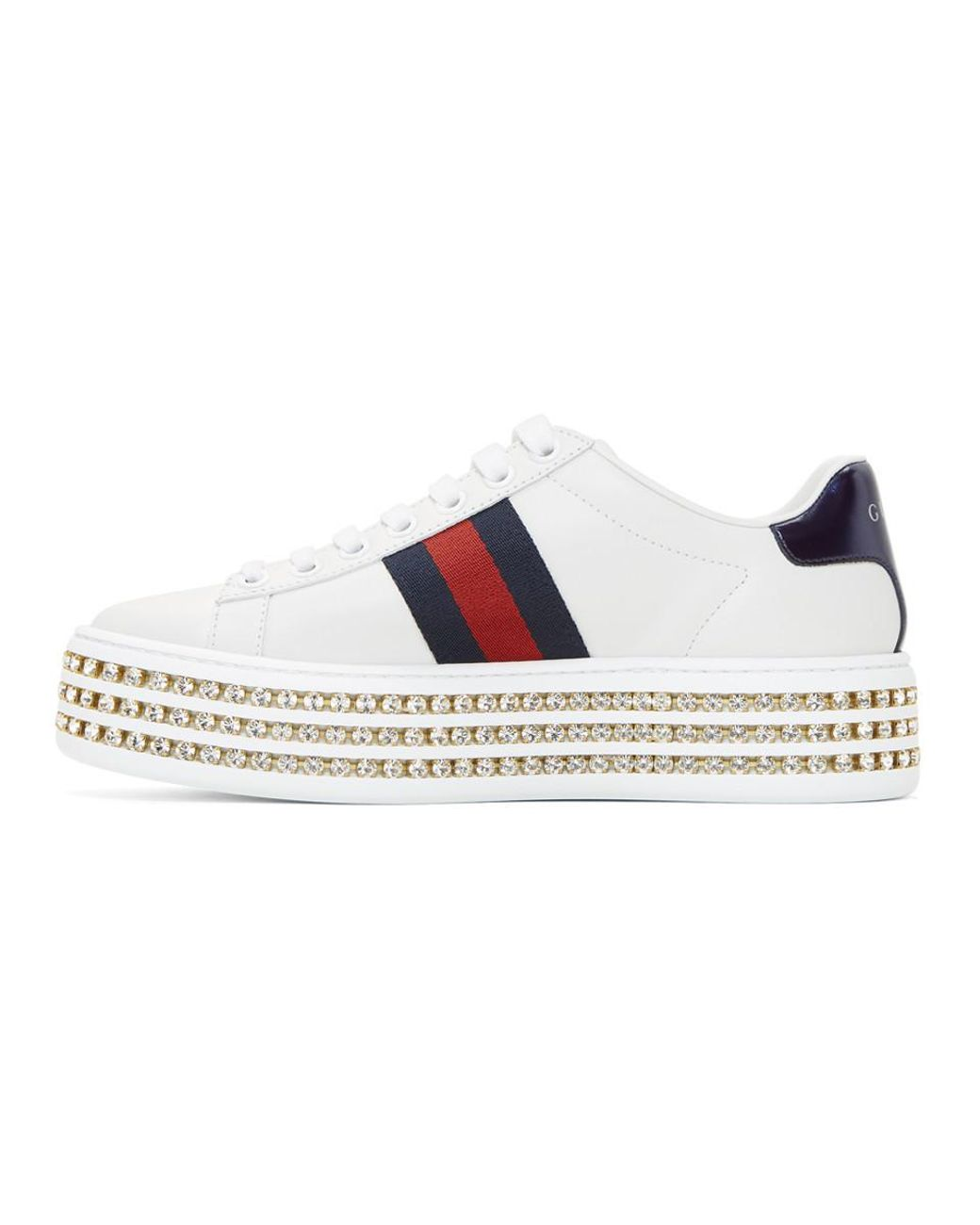 29c9cdbf608 Gucci White Crystal New Ace Sneakers in White - Save 22% - Lyst