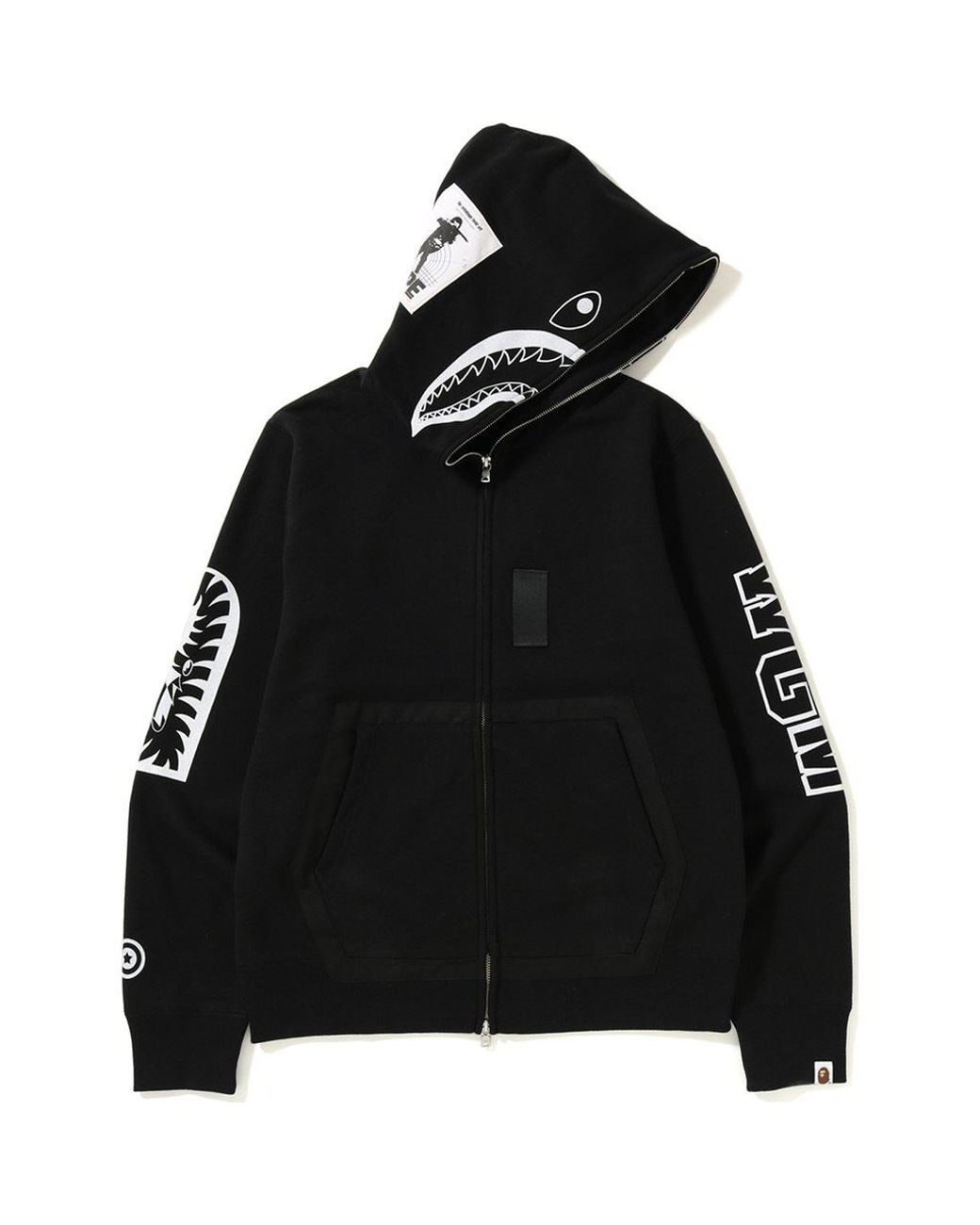 65bfbf1d A Bathing Ape Military Shark Full Zip Hoodie Black in Black for Men - Lyst