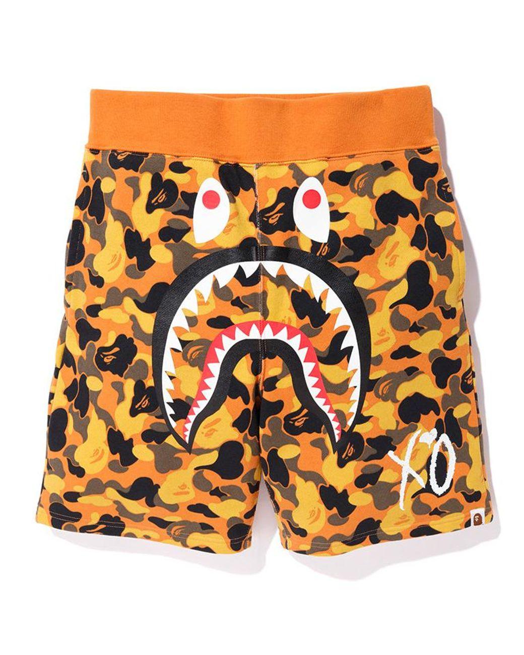 a818d302 A Bathing Ape X Xo Shark Sweat Shorts Orange in Orange for Men - Lyst