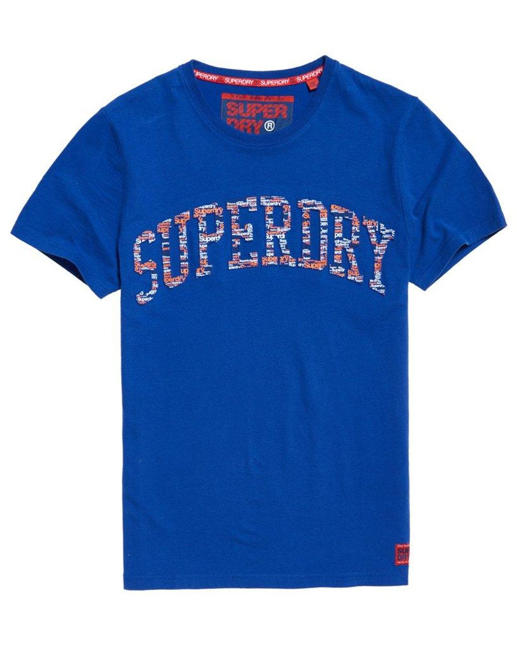 Superdry Men/'s Lay Up Blue Royal Blue Embossed Crew-Neck T-Shirt