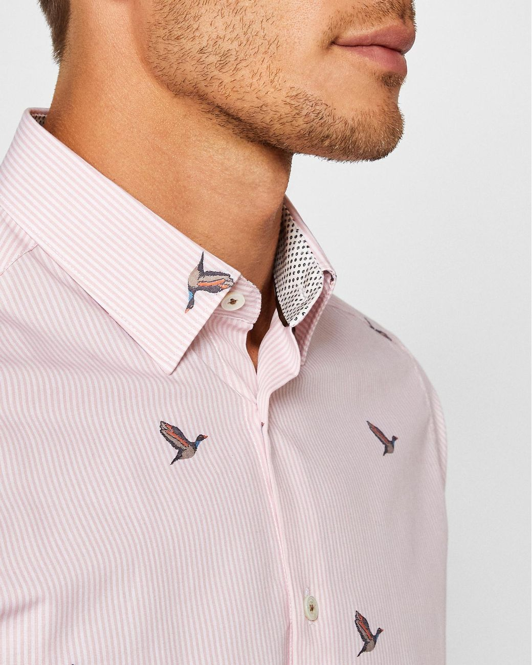 734287265d39 Ted Baker Striped Duck Print Cotton Shirt in Pink for Men - Lyst
