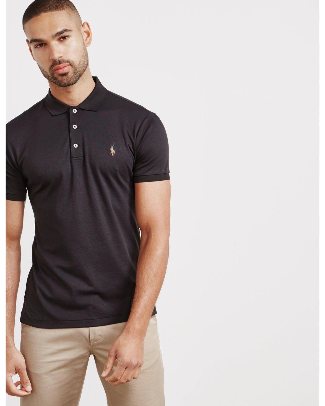 163e944c Polo Ralph Lauren Pima Short Sleeve Polo Shirt Black in Black for ...