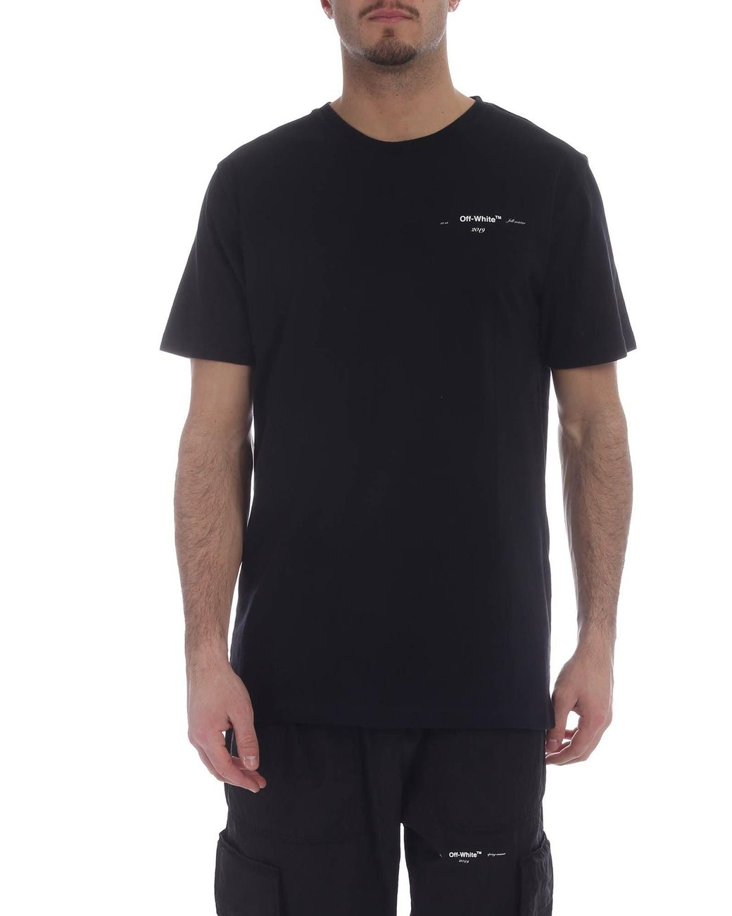 0ede842a7397 Lyst - Off-White c o Virgil Abloh Carry-over Black T-shirt in White ...