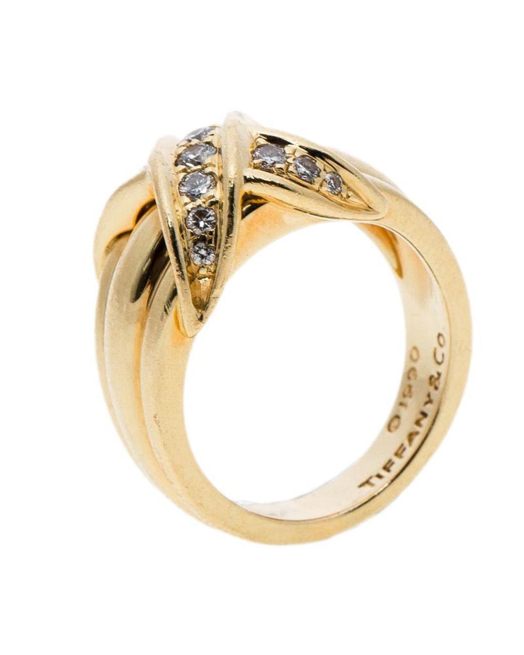 438a08b05 Tiffany & Co. Signature X Kiss Diamond & 18k Yellow Gold Ring Size 53 in  Metallic - Lyst