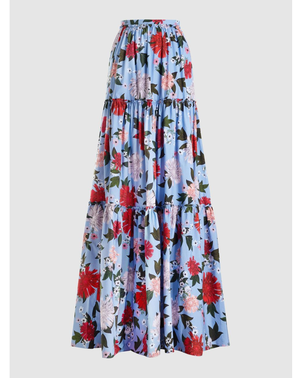 a206e0202 Erdem Sigrid Floral-print Cotton Maxi Skirt in Blue - Lyst