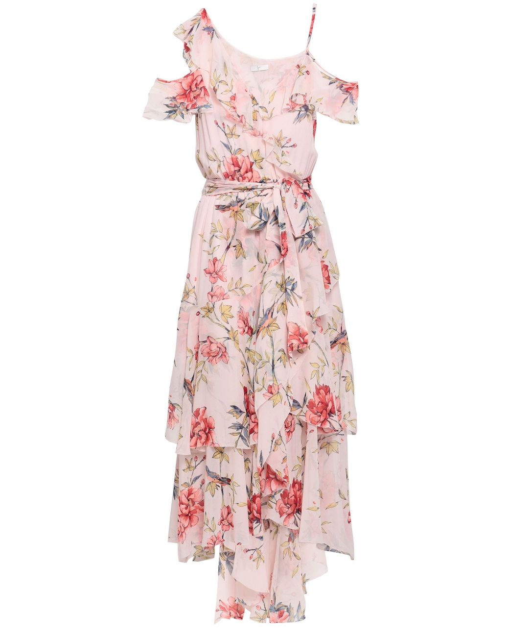 fcaf80c0a Joie Woman Cold-shoulder Ruffled Floral-print Silk Midi Dress Pastel Pink  in Pink - Lyst