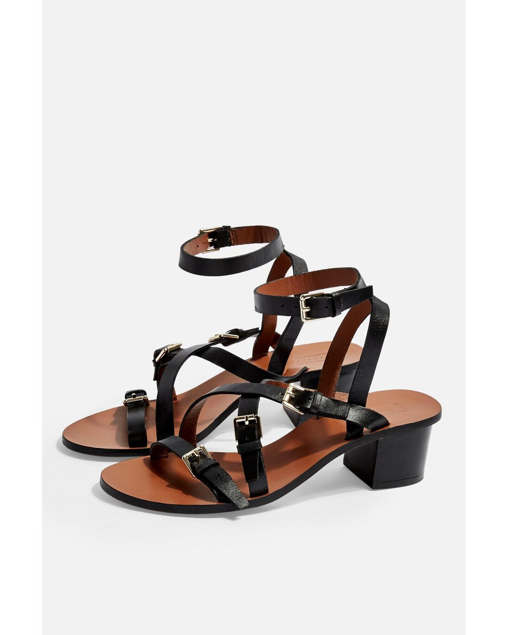 Lyst Black Virgo Sandals Buckle Topshop In mnN0wOv8
