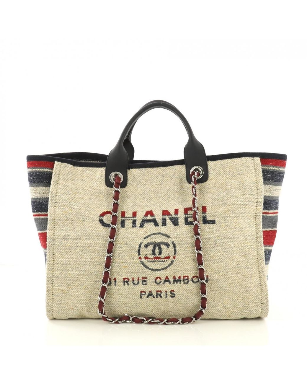 93764b3cd4cf Long-Touch to Zoom. Chanel - Pre-owned Deauville Brown Cloth Handbags ...