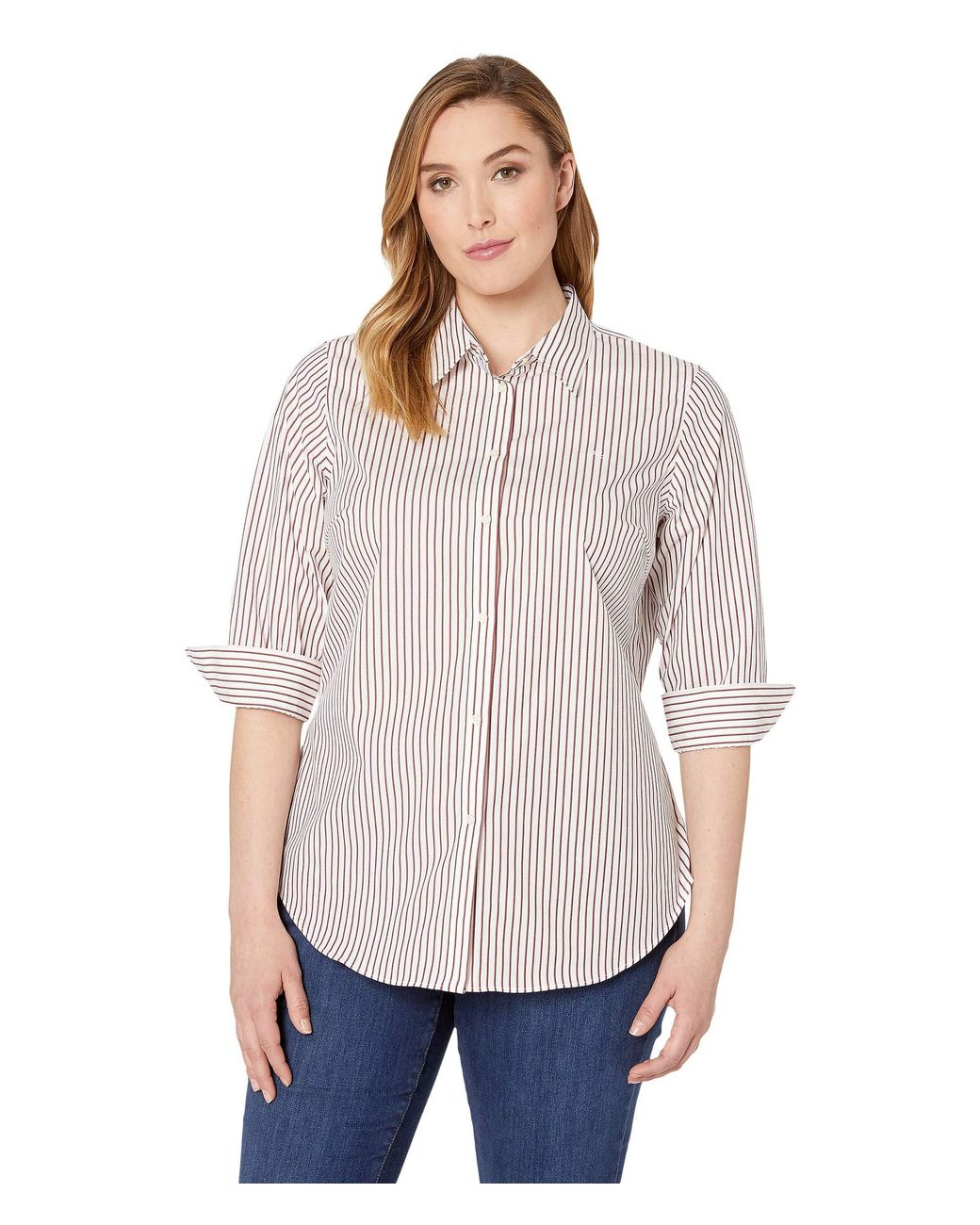 e662d67eb Lauren by Ralph Lauren Plus Size No-iron Striped Button Down Shirt  (white/lipstick Red Multi) Women's T Shirt in White - Lyst