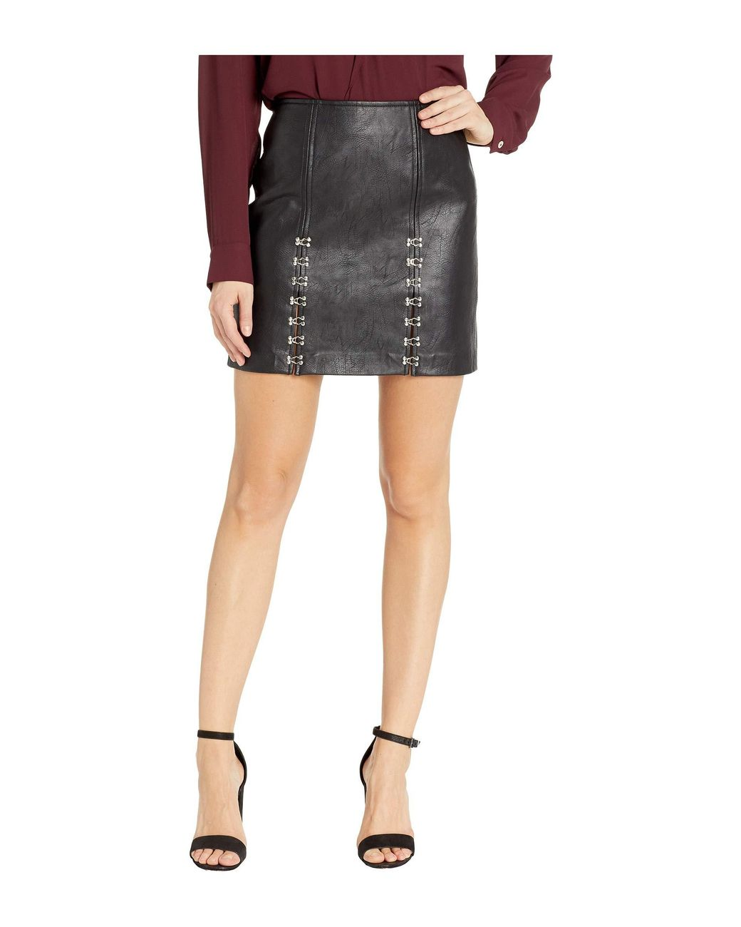 8709ef6d9b Blank NYC Vegan Leather Mini Skirt With Hook And Eye Detail In Limitless in  Black - Save 54% - Lyst