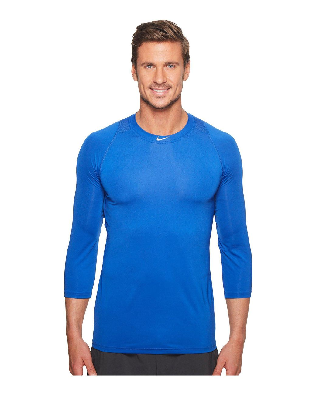 9dfe234a Nike Pro 3/4 Sleeve Baseball Top (wolf Grey) Men's Clothing in Blue for Men  - Lyst