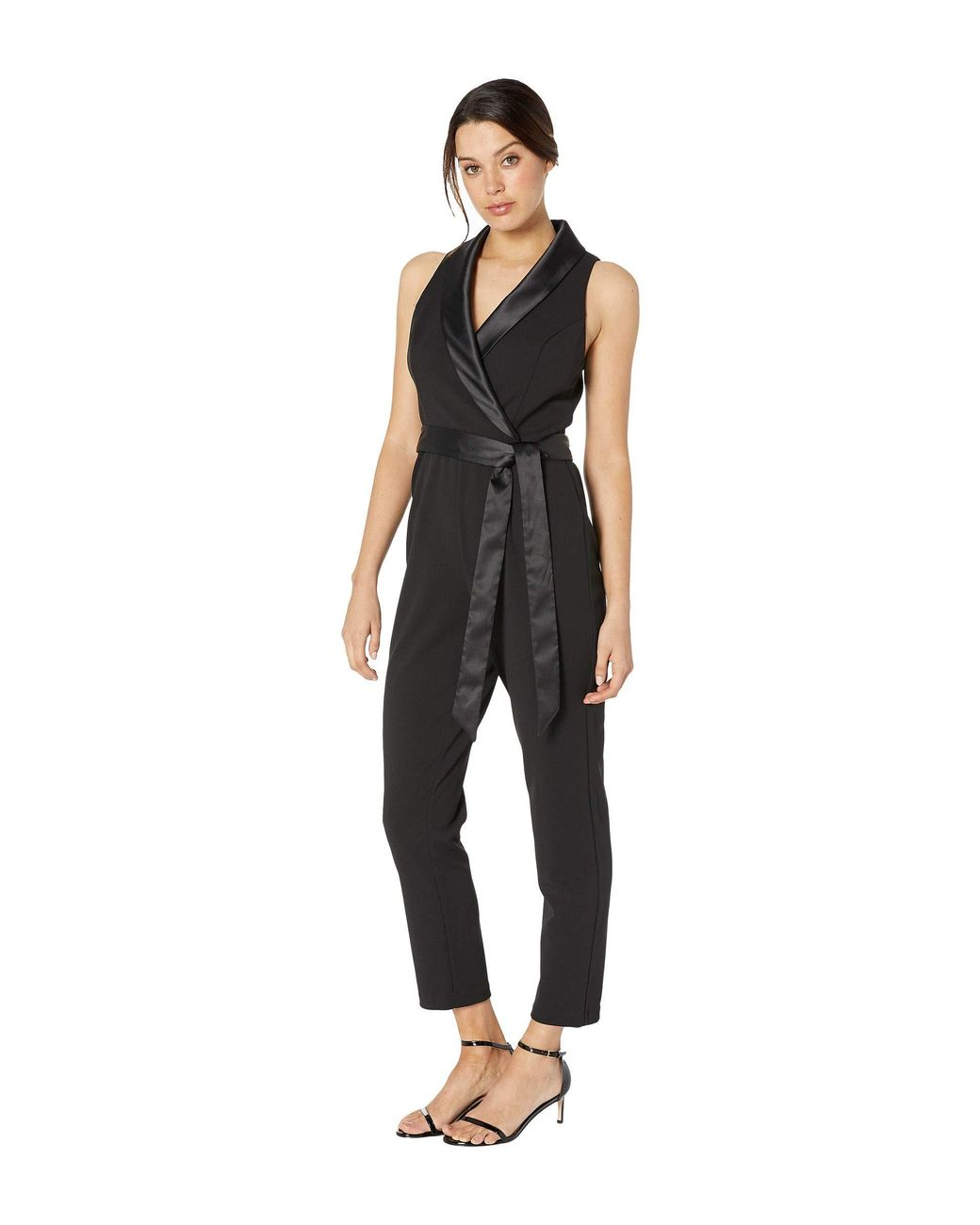 31568d3a61 Adrianna Papell Knit Crepe Wrap Top Sleeveless Jumpsuit With Stretch  Charmeuse Collar in Black - Lyst