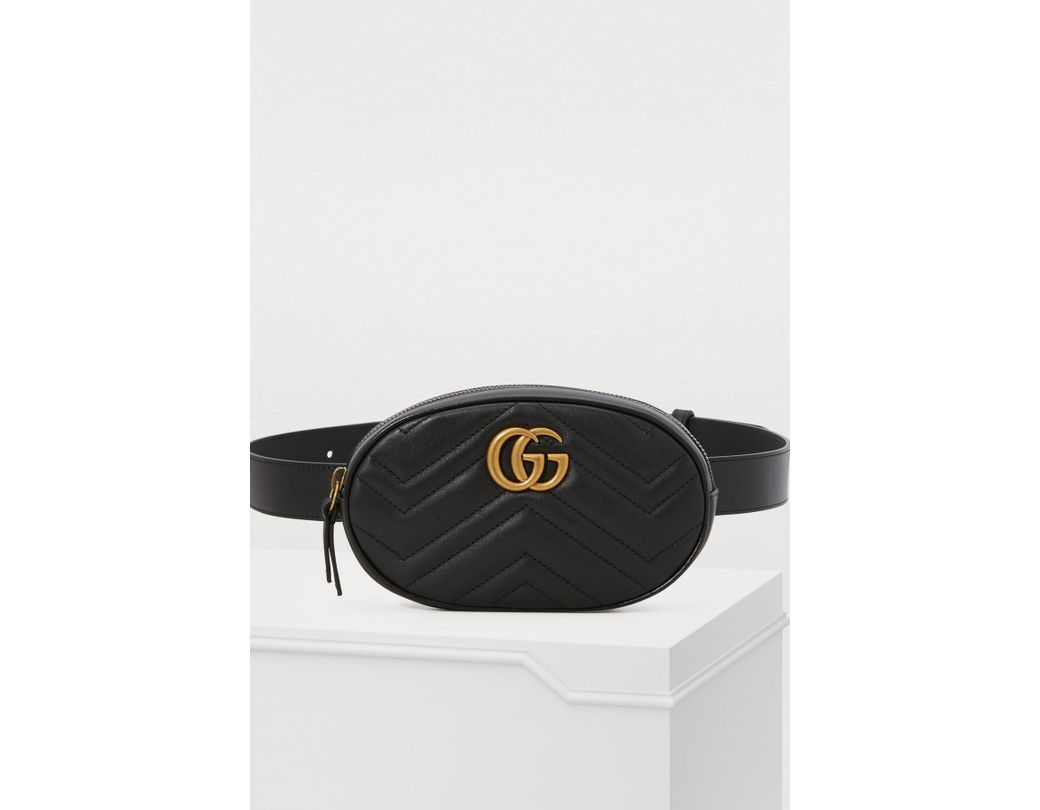 7b1c1333ffc Lyst - Gucci GG Marmont Belt Bag in Black