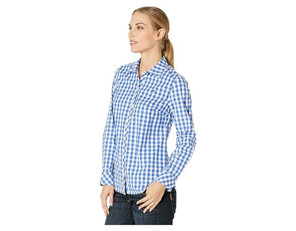 afc05773 Vineyard Vines Mini Gingham Classic Button Down Shirt (dazzling Blue)  Clothing in Blue - Save 13% - Lyst