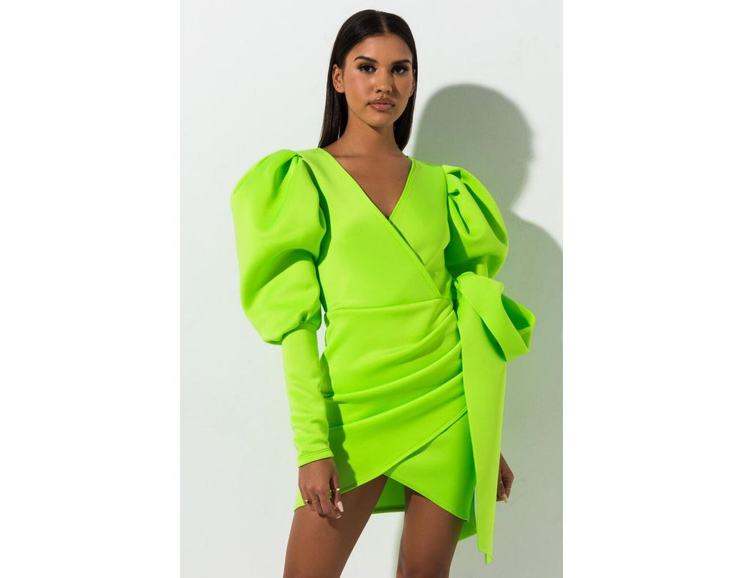 934f926d43a Lyst - AKIRA Madly In Love Puffy Sleeves Mini Dress in Green