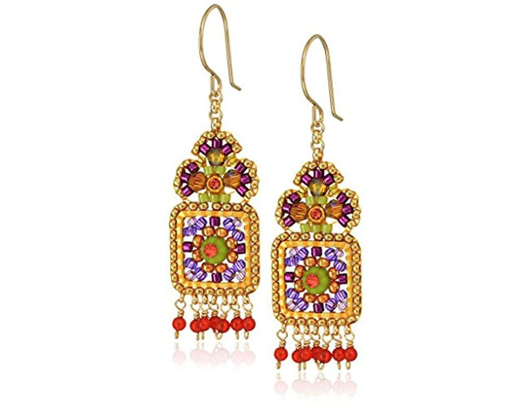 89599deb27833 Lyst - Miguel Ases Small Floral Framed Square Round Wrapped Dangle ...
