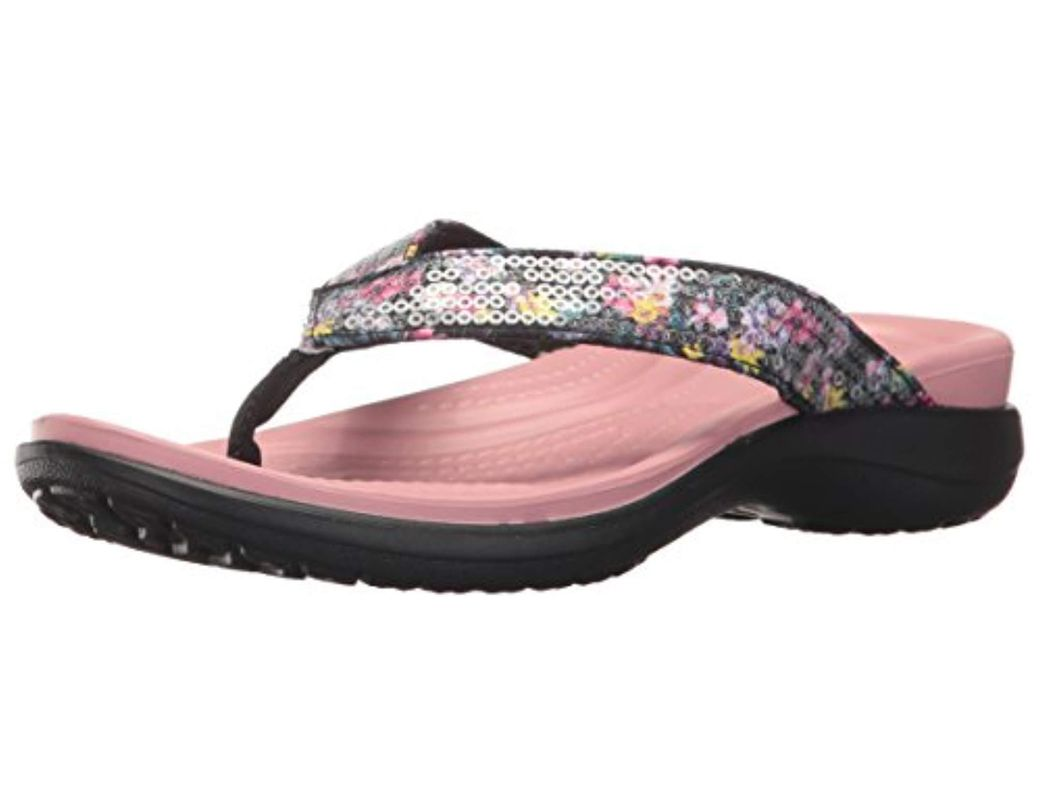 5dd7dd6b9d86 Lyst - Crocs™ Capri V Graphic Sequin Flip in Pink