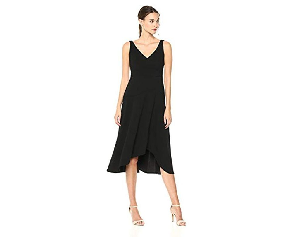 5d7d3312d5a4 Lyst - Calvin Klein Sleeveless High-low Midi Dress in Black - Save 22%