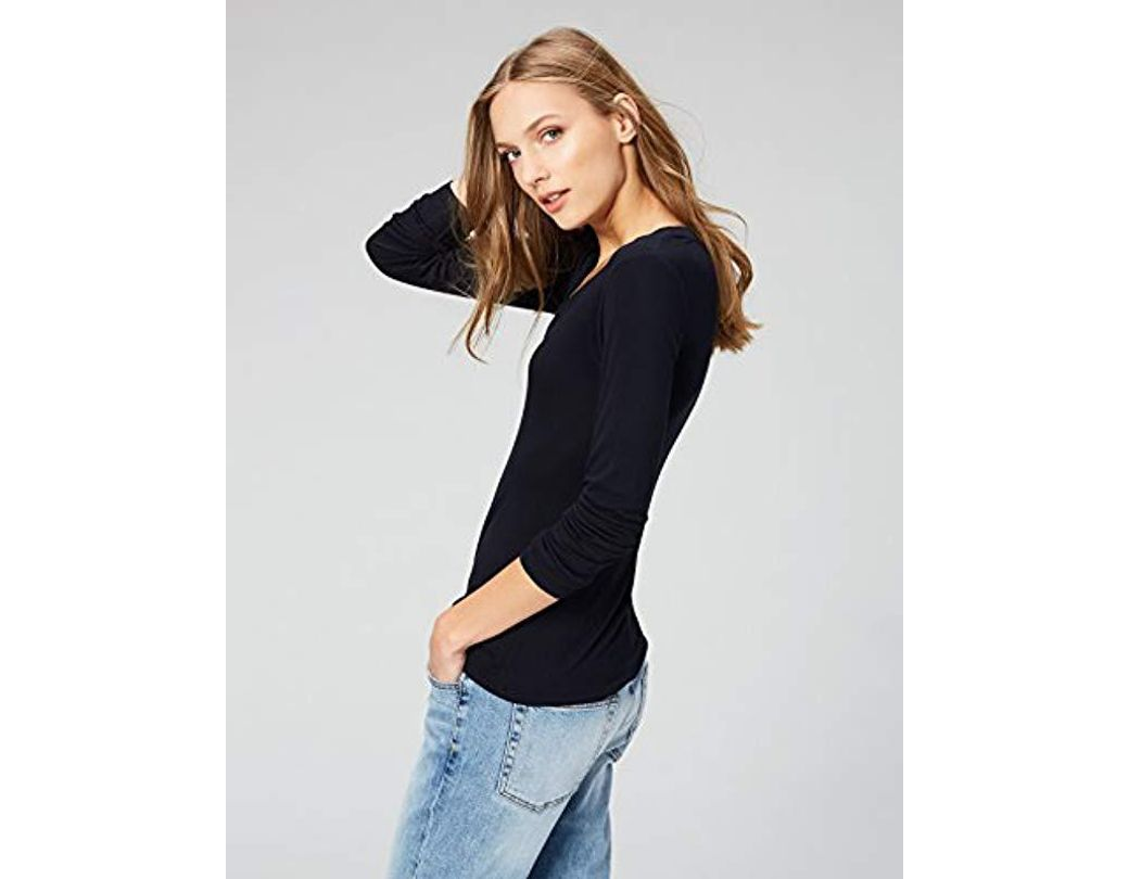 0cb01ece30e238 Lyst - Daily Ritual Rib Knit Jersey Long-sleeve V-neck Shirt in Blue - Save  16%