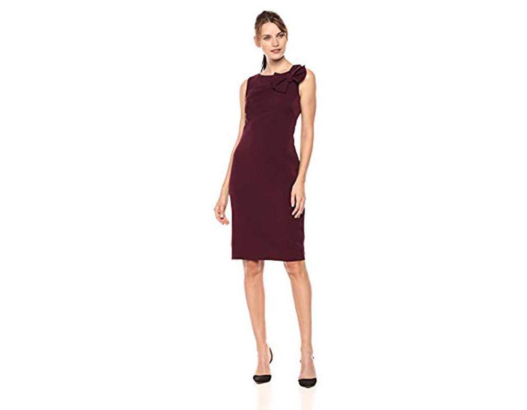 5045b5224f7f Lyst - Eliza J Sleeveless Sheath Dress With Bow Shoulder in Purple