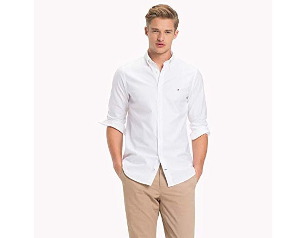 b180d94a Tommy Hilfiger Core Stretch Slim Oxford Shirt Casual in White for Men - Lyst