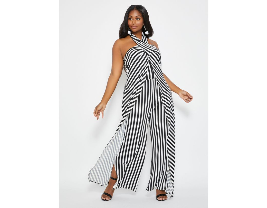 b0be62cd9483 Ashley Stewart. Women's Black Plus Size Tall Striped Cross Neck Overlay  Jumpsuit