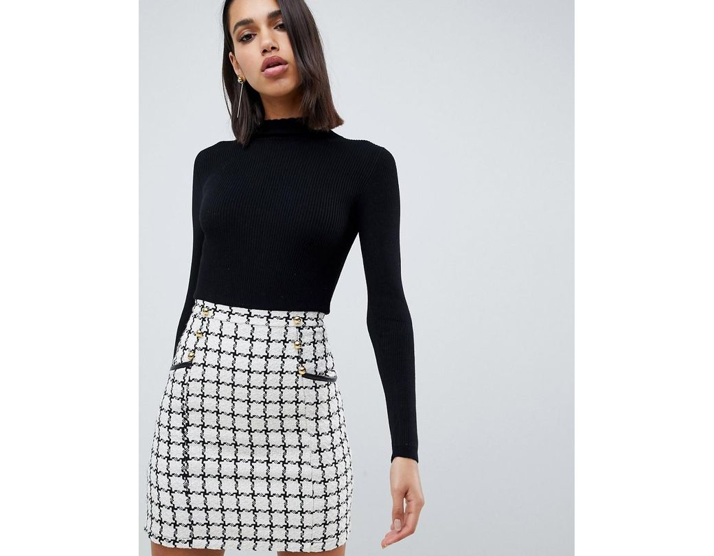 985c3a2fa766 Lipsy 2 In 1 Dress With Checked Skirt In Mono in Black - Lyst