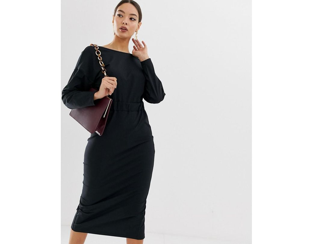 4084fdb5d7b0 ASOS Rib Wrap Back Midi Pencil Dress in Black - Lyst