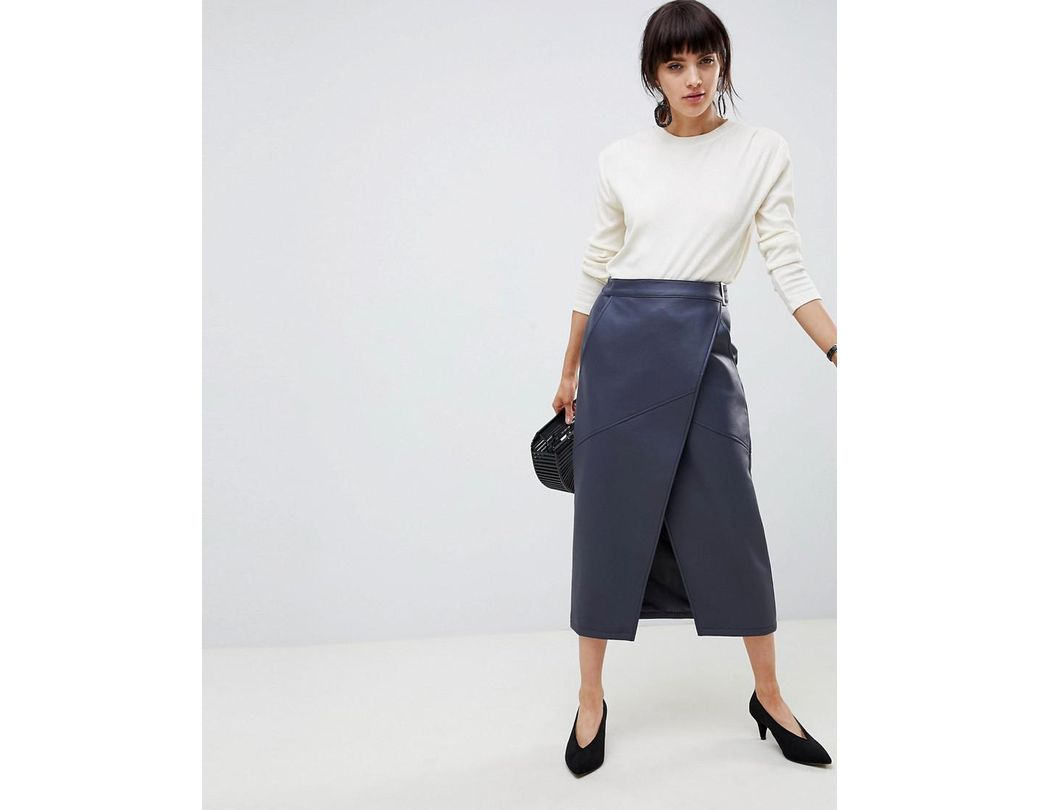 5236ce9b5 ASOS Leather Look Wrap Midi Skirt With Buckle Belt in Blue - Lyst