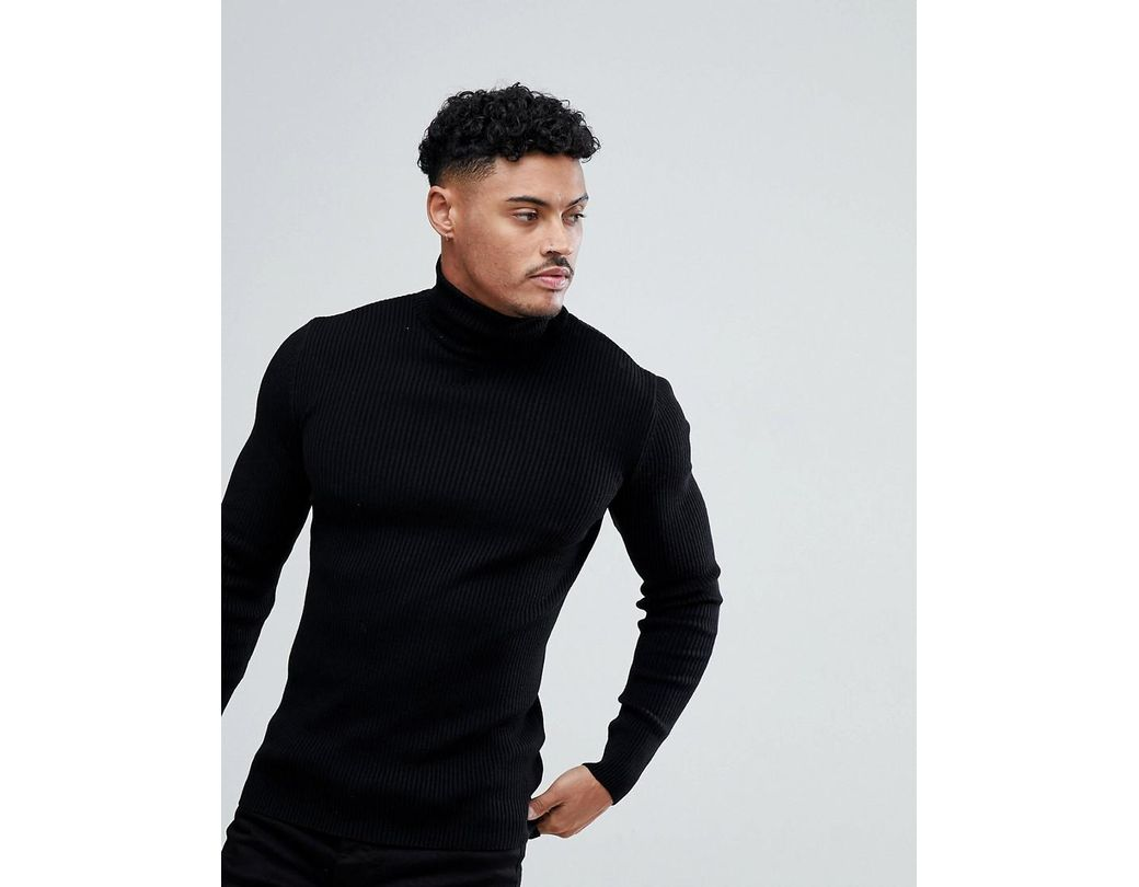 302a440f31d5ec ASOS Muscle Fit Ribbed Roll Neck Sweater In Black in Black for Men - Lyst
