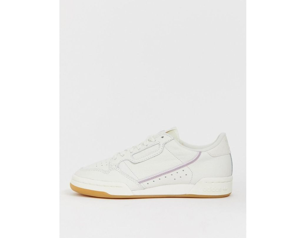 1e6f942070897 Lyst - adidas Originals White And Lilac Continental 80 Sneakers in White