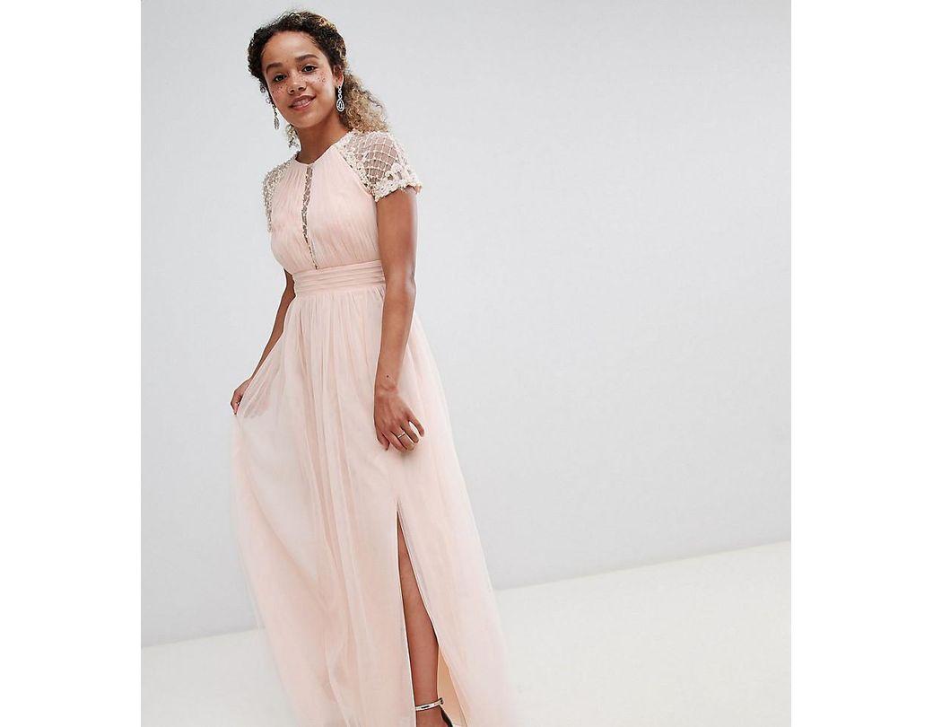 46688e30ea3 Little Mistress Embellished Bodice Maxi Dress in Pink - Lyst