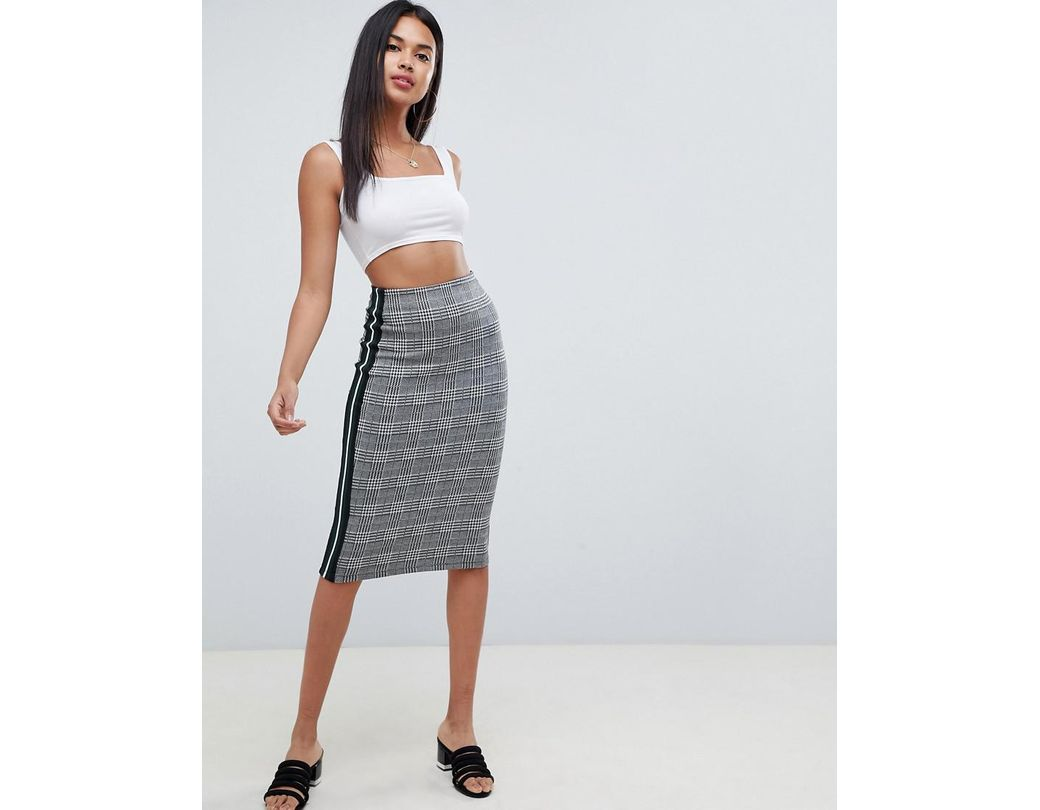 9875ab011 ASOS Check Midi Pencil Skirt With Side Sports Tipping - Lyst
