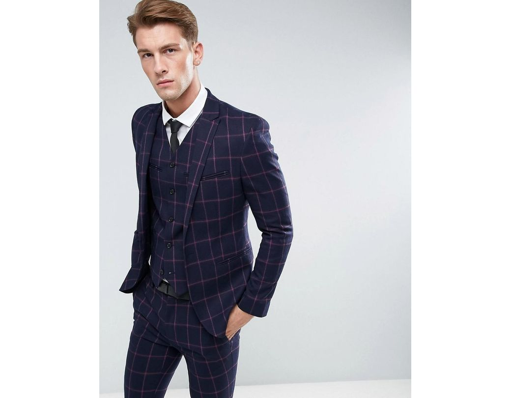 1a9c7e2b113b99 ASOS Asos Super Skinny Suit Jacket In Navy And Pink Windowpane Check in  Blue for Men - Lyst