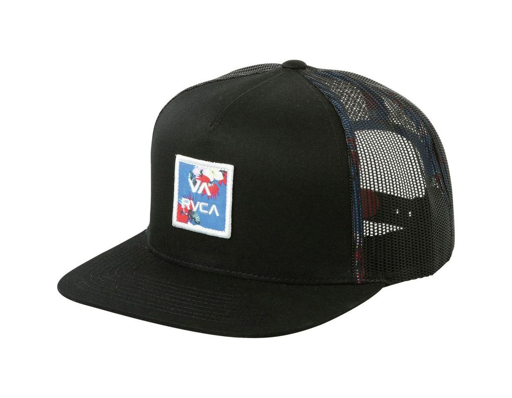 3dd1e107232062 Lyst - RVCA Va All The Way Trucker Print Hat in Black for Men