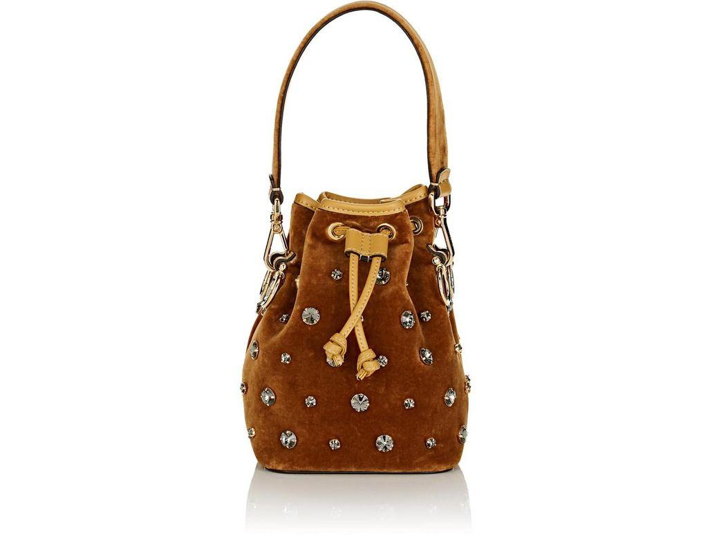 c5823d3911b6 Fendi Mon Tresor Mini Velvet Bucket Bag in Brown - Lyst