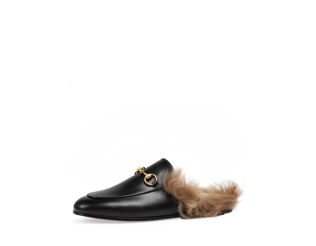 53bed3d72c4 Lyst - Gucci Princetown Fur-lined Leather Mule in Black