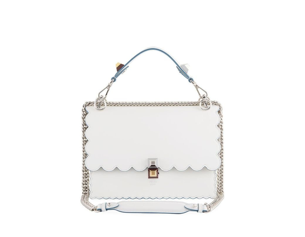 c48998d7b162 Long-Touch to Zoom. Long-Touch to Zoom. 1  2. Fendi - White Kan I Regular Leather  Scalloped Shoulder Bag ...